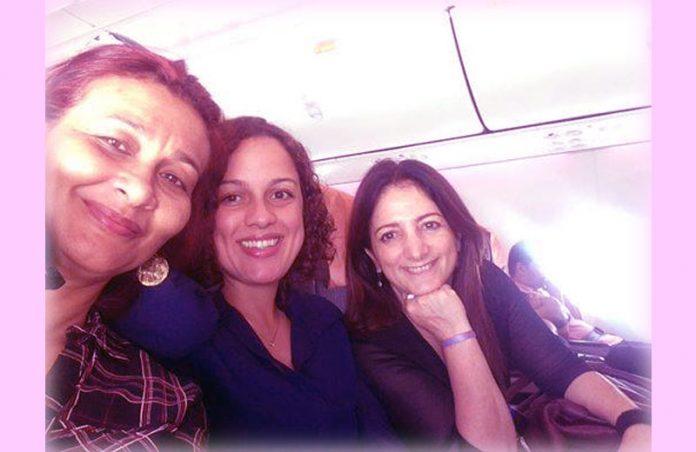 Passageiras Camila Santos (centro) e Sandra de Angelis (dir) / Foto: SNB