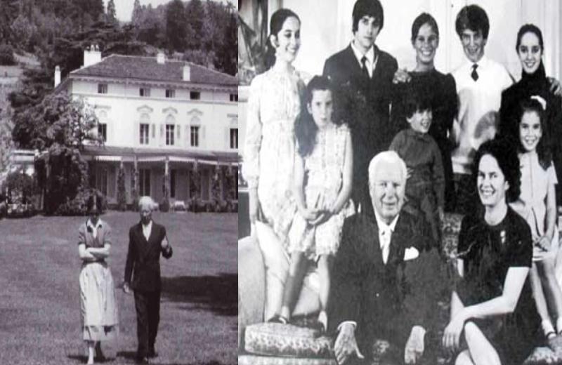 Charlie Chaplin e a esposa e os filhos