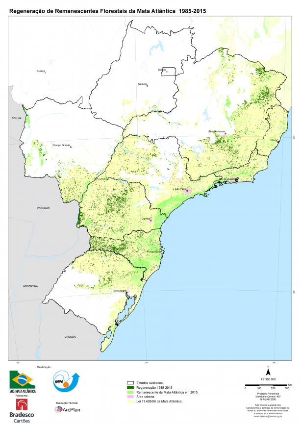 Verde escuro mostra a regeneração - Fonte: SOS Mata Atlântica