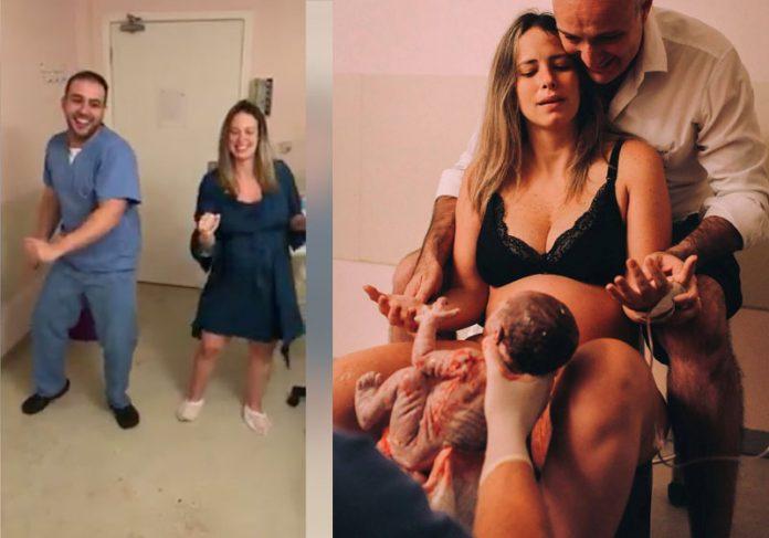 Fotos: reprodução / Facebook - Foto do parto fornecida e autorizada pelo casal