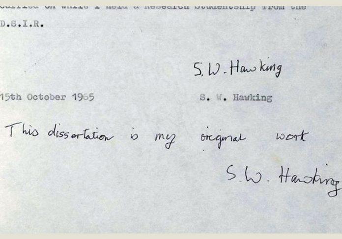 Foto: reprodução / University of Cambridge/Stephen Hawking|