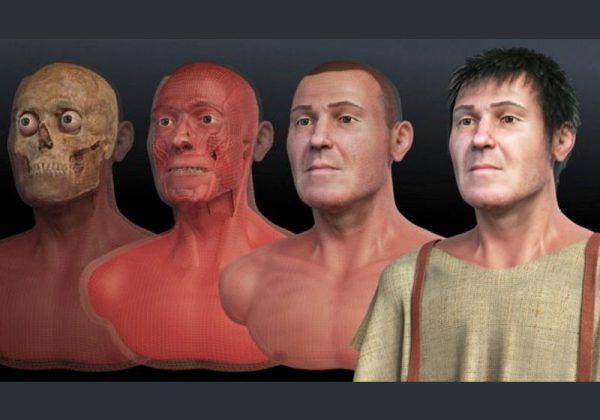 Fases da reconstituição facial de São Valentim; trabalho envolveu equipe multidisciplinar Imagem: Cícero Moraes/ Divulgação