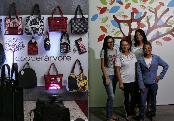 As peças produzidas e as artesãs na Cooperárvore Foto: Leo Lara