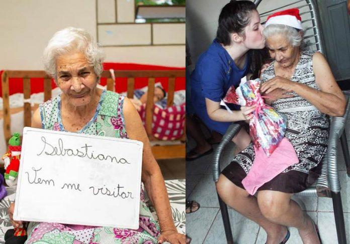 Dona Sebastiana e a visita gentil - Fotos: reprodução/Facebook Stelita|Dona Olga e Marilede - Fotos: reprodução / Facebook Stelita|||