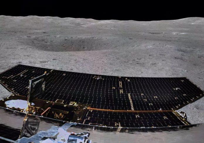 foto inédita tirada pela Chang'e-4 Foto: Divulgação AUTORETRATO feito pela sonda chinesa Foto: Divulgação