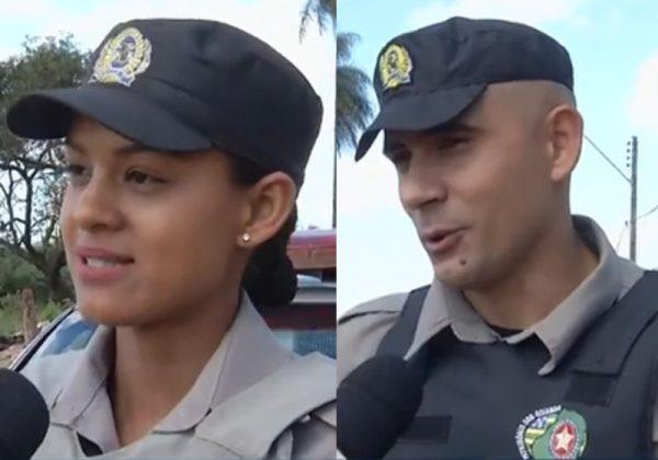 PMs Leilane e Bruno - Fotos: reprodução / TV Anhanguera