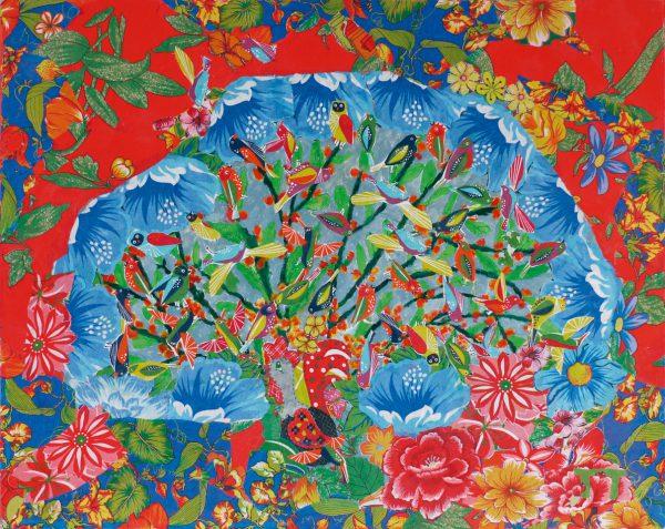 Obra Alvorada Doida 80 x 100 cm (2014). Colagem de chita e acrílica - Foto: divulgação