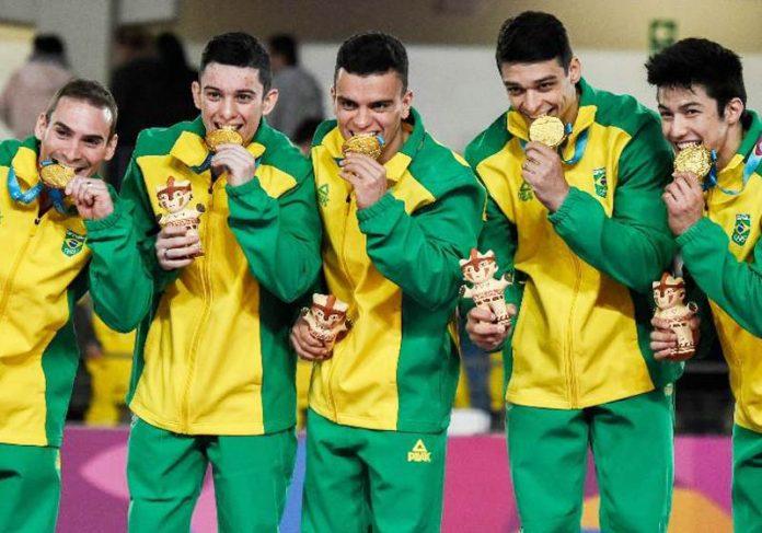 Brasileiros campeões da ginástica - Foto: Luis Robayo / AFP