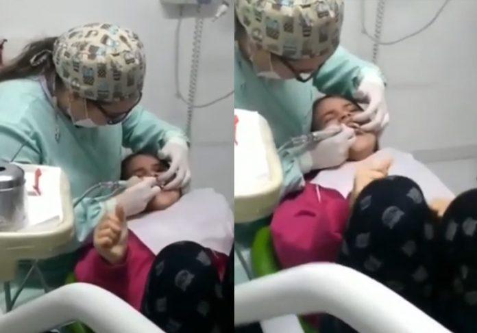 Giovanna na dentista: Foto: arquivo pessoal / divulgação autorizada