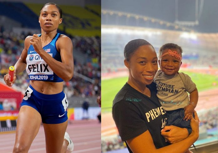 Allyson Feliz na corrida e com a filha - Fotos: reprodução / Instagram