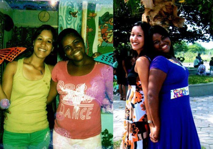 Manuela (esq) e Evanilma em 1999 e agora - Fotos: arquivo pessoal    