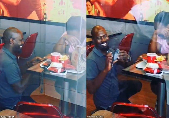 Hector e Nonhlanhla no KFC - Fotos: reprodução / Twitter