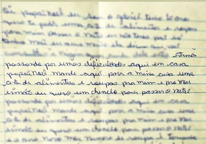 Cartinha do Gabriel - Foto: Divulgação/Polícia Militar|||