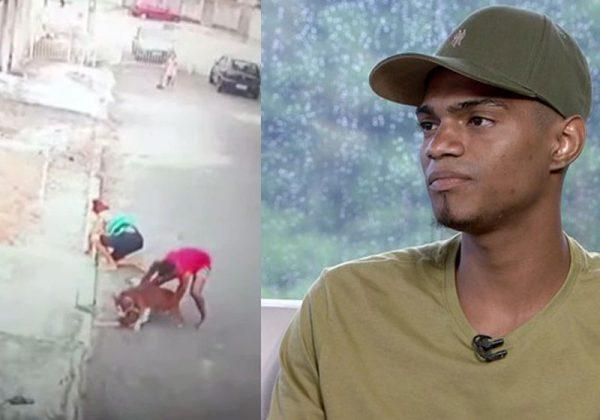 Patrick do Céu e o pitbull - Fotos: reprodução / TV Globo