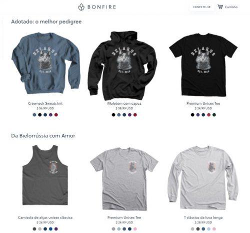 Camisetas com Belarus - Foto: reprodução / Bonfire.com