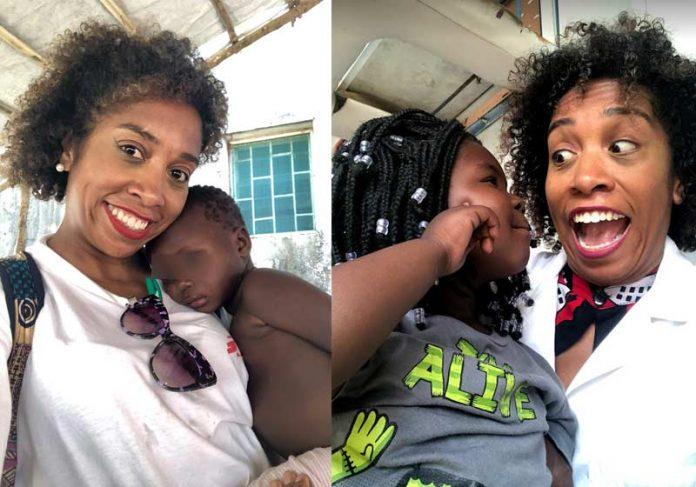 Rebecca com crianças na África - Fotos: arquivo pessoal||