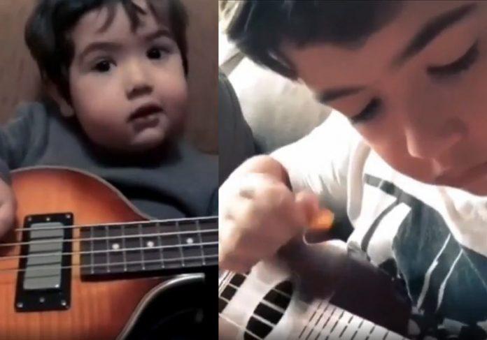 Diogo tocando com 1 ano e agora - Fotos: reprodução / Instagram