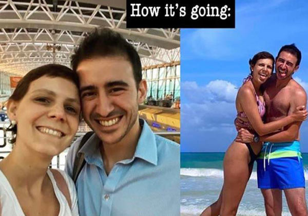 O antes e depois do casal Fotos: Arquivo Pessoal
