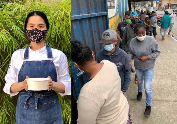 Chef Telma Shiraishi levando comida a Heliópolis - Fotos: divulgação