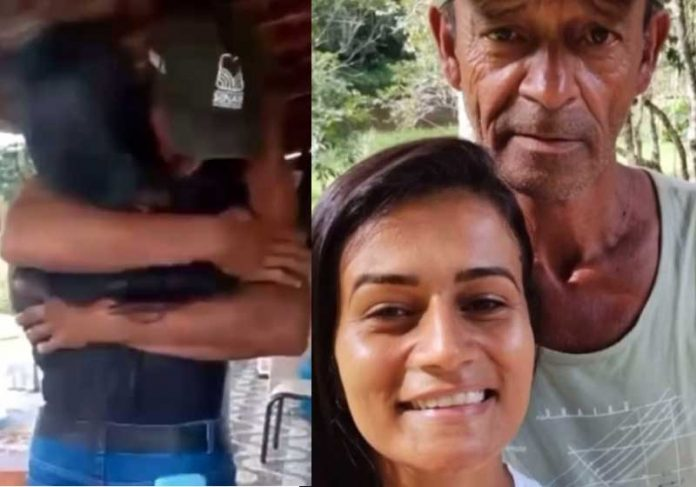 Filha encontra pai que não conhecia, após procurar família pelo Facebook. - Foto: Reprodução/Instagram @_fabylucas
