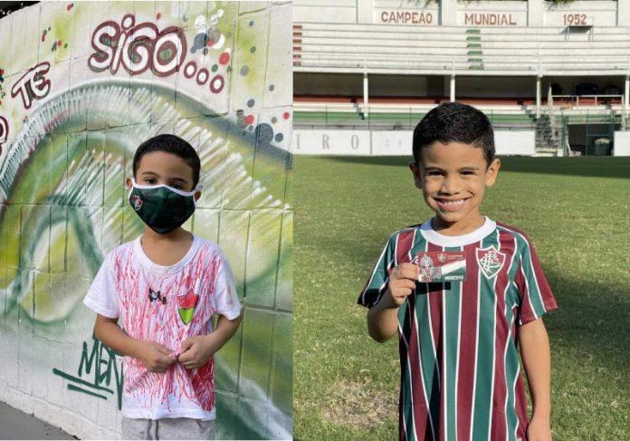 Raphael pintou a própria camisa do Fluminense e viralizou. Ele ganhou um super presente do time. - Foto: reprodução Twitter