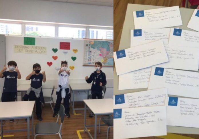 Alunos que estão mandando cartinhas na corrente do bem durante a pandemia - Foto: Divulgação/ Colégio Marista