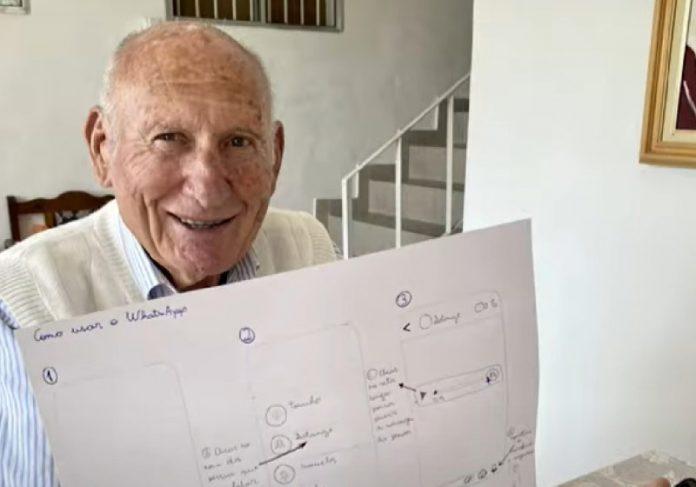 A neta desenhou o passo a passo no papel para ajudar o avô a mexer no celular - Foto: arquivo pessoal.