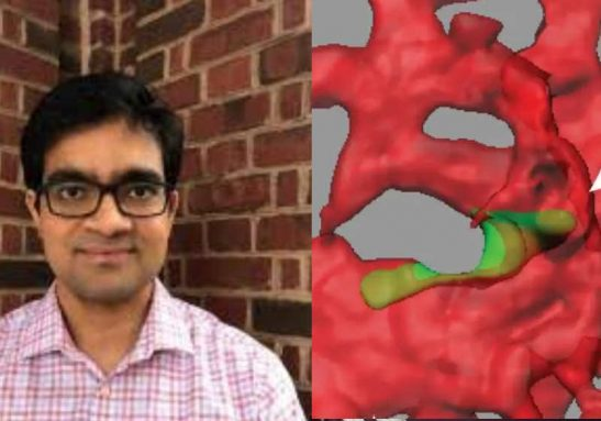 O Dr. Kaustav Bera, da equipe de pesquisadores da Universidade Johns Hopkins e a proteína TRPM7 Foto: Divulgação