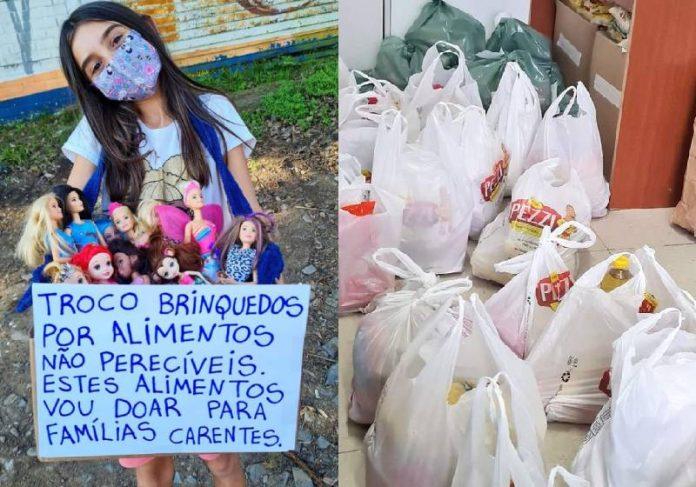 Valentine com parte das bonecas, o cartaz e alimentos que ela arrecadou para pessoas carentes - Fotos: Kaká D'Ávila