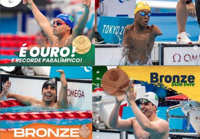 Os brasileiros que conquistaram 4 medalhas na natação logo na estreia das Paralimpíadas - Fotos: reprodução / Instagram