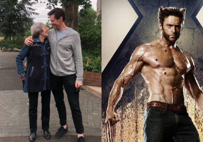 Hugh Jackman ao lado da mãe que o abandonou quando pequeno e como Wolverine - Fotos: Instagram e divulgação