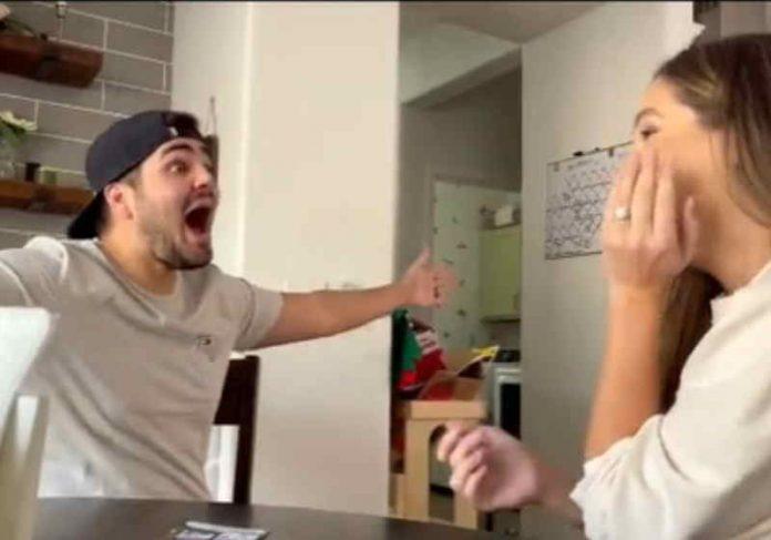 O homem teve uma reação épica ao descobrir que vai ser papai pela primeira - Foto: reprodução Tik Tok