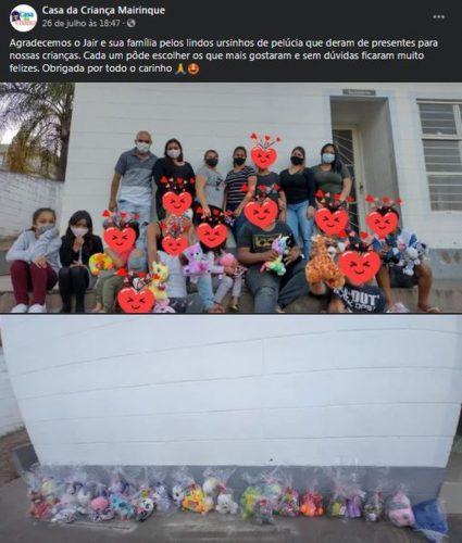 Casa da Criança de Mairinque fez publicação agradecendo a doação - Foto: reprodução Facebook