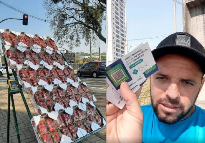 Diego vende fiado e dá o cartão com a chave Pix dele para o motorista pagar depois - Fotos: reprodução / Instagram
