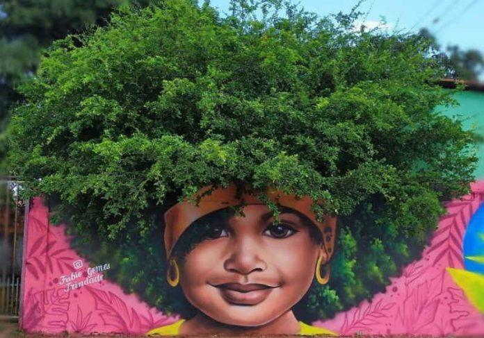 Fábio é de Goiânia e teve suas obras de árvores como cabelo compartilhadas pela mãe de Beyoncé e pela atriz Viola Davis Foto: Instagram