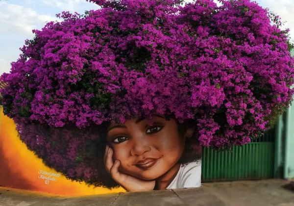 Mural de garotinha com cabelos da árvore Bougainvillea, em muro de Trindade, GO - Foto: reprodução / Instagram