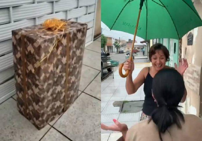 Ilka fez surpresa, veio ao Brasil e se escondeu nessa caixa de presente para comemorar os 60 anos da mãe - Fotos: reprodução / Instagram