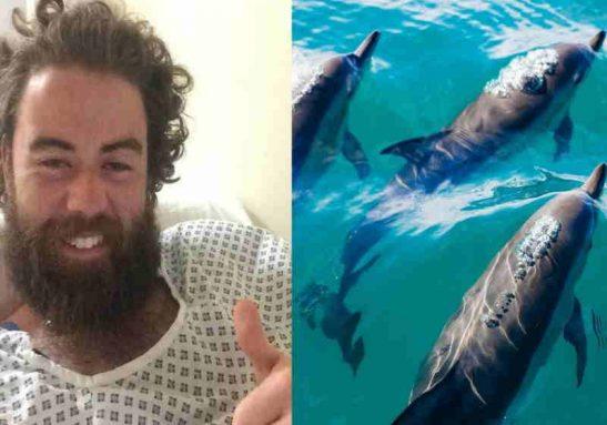 Ruairi McSorley foi cercado por golfinhos que só o abandonaram após a chegada do resgate Foto: reprodução SundayWorld
