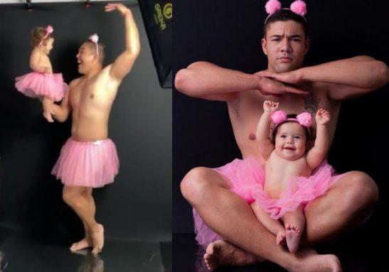 Pai militar, Eduardo Salomão conta que enfrentou preconceito da família para fazer o ensaio de tutu com a filha - Fotos: Nayara Stival