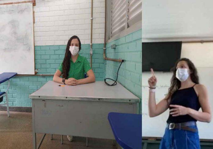 A professora Kamila que dá aulas de sociologia em Taguatinga, no Distrito Federal Foto: Jornal de Brasília/redes sociais