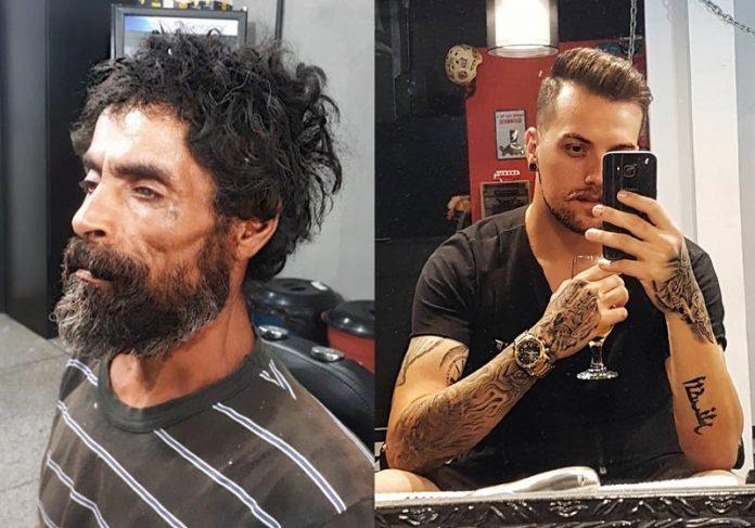 Peterson e o barbeiro Alexandre Brehmer - Fotos: arquivo pessoal Alexandre Brehmer|||