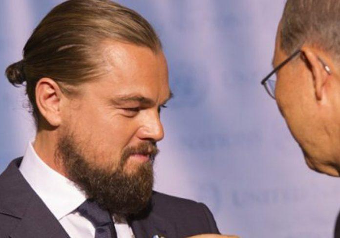 Leonardo DiCaprio con Ban Ki-moon. Foto : United Nations