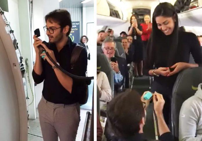 Lucas e Dhieny - Fotos: reprodução / Instagram|Os noivos com a tripulação da TAP - Foto: arquivo pessoal