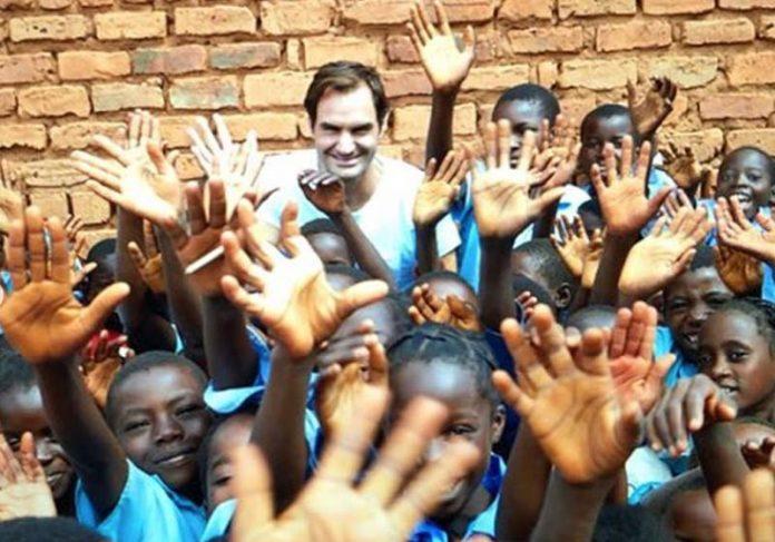 Roger Federer em 2018 na Zambia - Foto: instagram 
