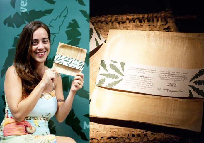 Paula Facó e o prato biodegradável - Fotos: Foto: Luiz Alves