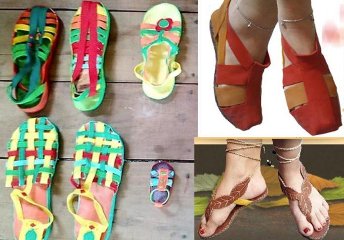 Sandálias feitas por indígenas - Fotos: divulgação / Calçados Ararinha