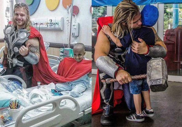 Gabriel como Thor, visitando crianças - Fotos: arquivo pessoal
