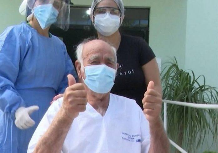 David José, 90 anos, alta em 22/05 - Foto; reprodução / TV Bahia