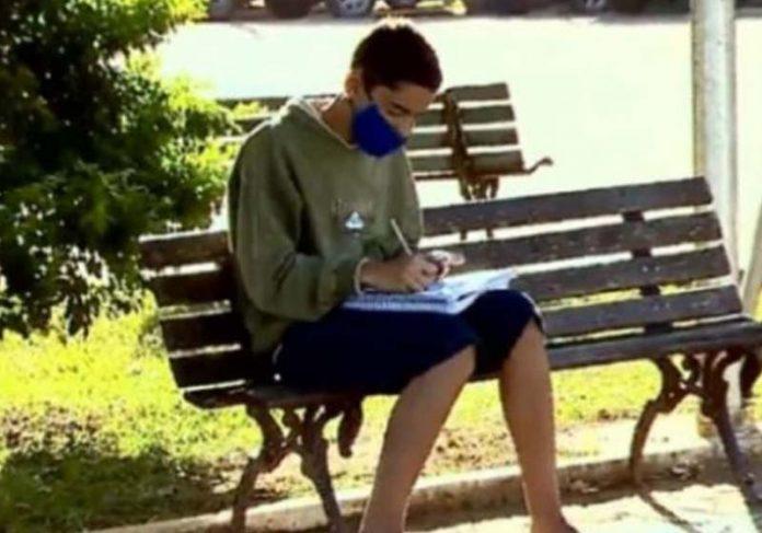 Willian estudando na praça - Foto: reprodução / SBT