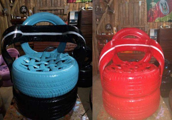 Poltronas feitas com pneus - Fotos: divulgação